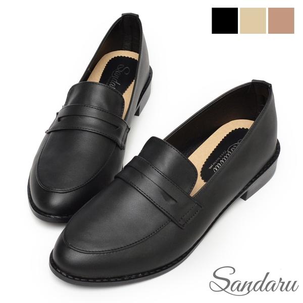 紳士鞋 經典微尖頭低跟便仕樂福鞋-黑