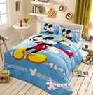 DI0010☆迪士尼系列☆米奇高飛/精梳純棉5尺標準雙人薄床包組/藍色/可愛/Disney授權—佛你居家