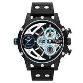 POLICE 機械禁區時尚腕錶-黑色x黑色