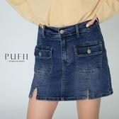 PUFII-褲裙 S-3L加大尺碼後鬆緊牛仔短褲裙-1111 現+預 冬【CP19493】