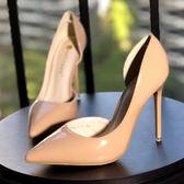 新款尖頭性感高跟鞋細跟裸色ol女單鞋超高跟夜店女鞋紅色婚鞋 全館免運限時八折