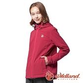 【wildland 荒野】女 三層竹炭膜防風拆帽外套『玫紅』0A82911 戶外 休閒 運動 露營 登山 騎車