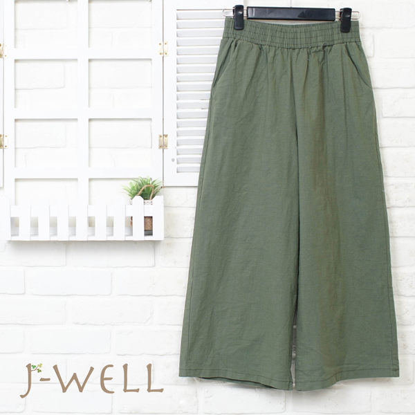 J-WELL 素面好感寬褲 8J1503