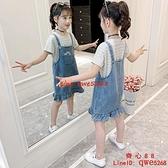 女童牛仔背帶裙兩件套夏裝裙子大童夏季連衣裙【齊心88】