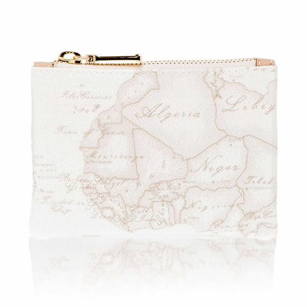 地圖包Alviero Martini-鑰匙環拉鍊小錢包-地圖白