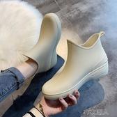 夏季日繫時尚雨鞋女短筒雨靴水鞋低筒水靴防滑洗車買菜廚房鞋膠鞋 布衣潮人
