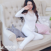 美好時光‧純棉舒適成套睡衣(白色) XL  Size Choco Shop
