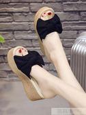 一字拖女夏季時尚百搭蝴蝶結韓版松糕坡跟外穿防滑厚底高跟涼拖鞋 韓慕精品