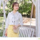 高含棉可愛動物造型門襟七分袖襯衫/上衣 OrangeBear《AB12304》