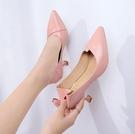兩穿高跟鞋少女細跟2020新款春季韓版百搭尖頭淺口貓跟單鞋 LF6430【極致男人】