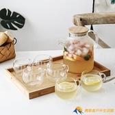 日式玻璃冷水壺套裝耐熱高溫泡茶壺涼開水杯壺家用【勇敢者】