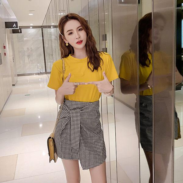 VK旗艦店 韓系不規則系帶半身裙格紋短裙套裝短袖裙裝