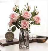 雪山玫瑰 仿真花多頭玫瑰花假花裝飾花綠葉客廳家居軟裝擺件 三支