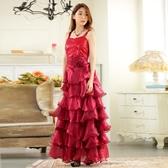 9725-JK夏 蛋糕 洋裝* 晚會表演服飾公主蛋糕裙擺波浪層次長款小禮服 ~美之札