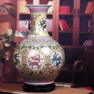 景德鎮陶瓷器粉彩大花瓶賞瓶七色龍