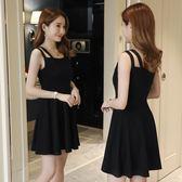 洋裝—新款夏季復古無袖吊帶顯瘦高腰氣質優雅連身裙短款小黑裙女  草莓妞妞