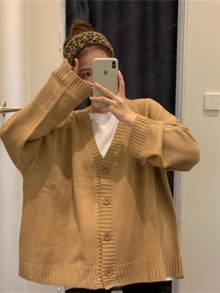 春秋季韓版V領針織開衫學生寬鬆外穿百搭毛衣慵懶風外套女裝