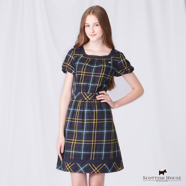 蕾絲滾邊方領格紋洋裝 Scottish House【AD3103】