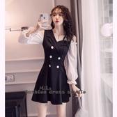 依酷衫 秋裝新款時髦氣質神范黑色顯瘦洋裝