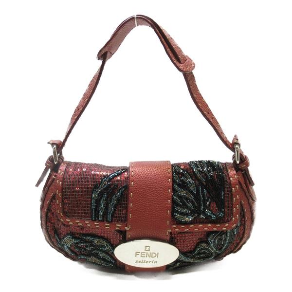 FENDI 紅色牛皮珠珠肩背包 Sequin Beaded Selleria Bag【二手名牌BRAND OFF】