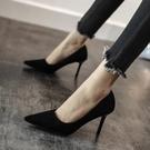 高跟鞋 新款法式小高跟黑色高跟鞋女春秋女鞋細跟百搭網紅工作單鞋女 萬聖節狂歡