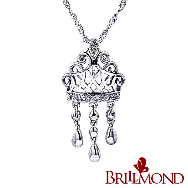 鑽石項鍊 【BRILLMOND】女王之冠真鑽墜(天然真鑽 925銀台)
