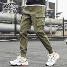 縮口褲 側邊口袋標帶休閒工作褲【NZ75...