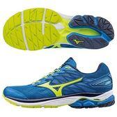 MIZUNO WAVE RIDER 20   男鞋 慢跑 避震 穩定 柔軟 舒適 彈性 藍 螢光綠 【運動世界】 J1GC170344