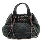 【奢華時尚】CHANEL 黑綠色炫彩牛皮霧銀鍊手提肩背兩用貝殼包(八八成新)#25168