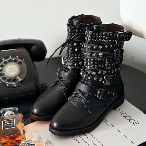 大尺碼女鞋 2019新款歐美個性時尚龐克風滿天星鉚釘低跟短靴 馬丁靴 騎士靴 ~2色