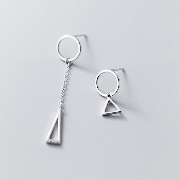 925純銀 不對稱幾何三角形圓形圓圈 耳環耳針-銀 防抗過敏