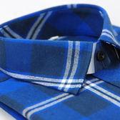 【金‧安德森】藍色大格白線厚暖長袖襯衫