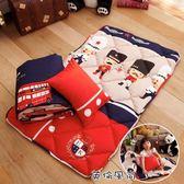 [英倫風尚] 吸溼排汗 睡墊 涼被 童枕3件組 可當幼稚園睡袋 兒童午睡