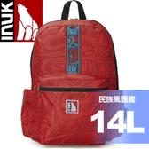 【INUK 加拿大 14L 民族風雙肩背包《紅底圖騰印花C》】IKB12212160042/後背包/背包