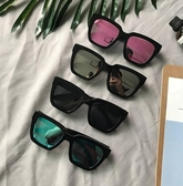 夏季新款眼鏡女潮復古黑超圓臉方框太陽鏡韓版彩膜反光墨鏡男