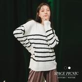 針織 條紋 Space Picnic|橫紋麻花寬鬆針織長袖上衣(現+預)【C19103044】