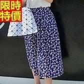 寬褲-氣質時髦單品靚麗花色七分女闊腿長褲69c43[巴黎精品]