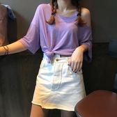 韓國短袖t恤女寬鬆2018新款夏裝韓版半袖棉麻衫露肩小心機上衣 萬聖節服飾九折