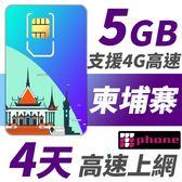 柬埔寨 4天 5GB高速上網 支援4G高速
