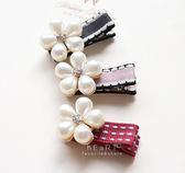 小香風珍珠花瓣髮夾 髮飾 氣質鑲鑽花朵 婚禮造型髮飾