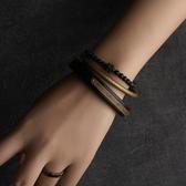 復古手工木手鐲金屬黃銅手環珠子手鍊套組/設計家