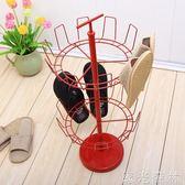鞋架 紅色雙層可旋轉鞋架家用鐵藝圓形鞋子收納掛架 igo 綠光森林