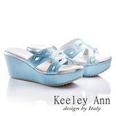 ★零碼出清★ Keeley Ann 氣質文雅~鏤空鑽珠浪漫厚底涼鞋(藍色)