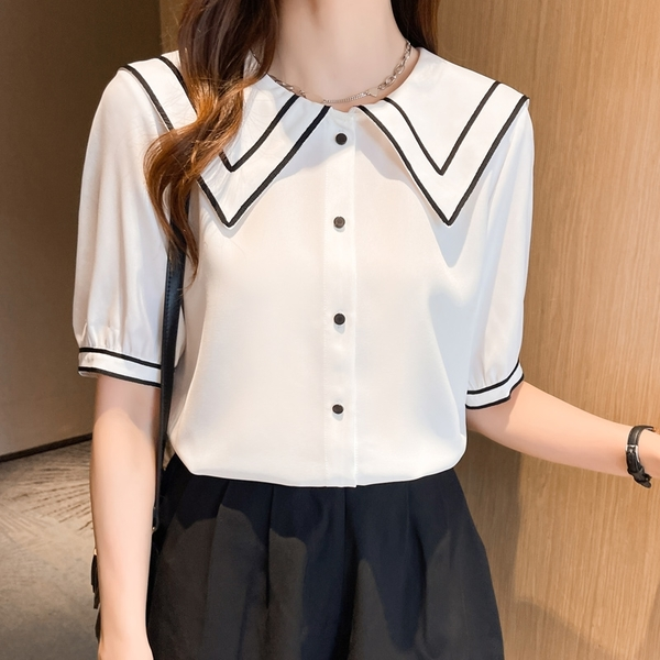 VK精品服飾 韓系海軍風領翻領雪紡襯衫優雅單品短袖上衣