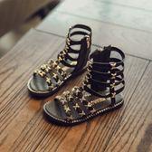 公主鞋 兒童鞋子高筒拉?鉚釘軟底公主鞋寶寶沙灘鞋女童涼鞋 聖誕節交換禮物