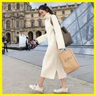 新年鉅惠 洋裝—新款韓版針織連身裙女寬鬆高領打底毛衣裙子過膝中長款秋冬季