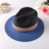 遮阳帽 出游草帽 拼色太陽帽男女士沙灘度假遮陽爵士帽情侶海帽 城市科技