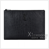 YSL SAINT LAURENT MONOGRAM黑字LOGO小牛皮手拿包(黑)