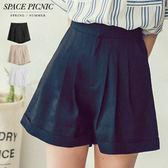 短褲 Space Picnic 素面高腰棉麻休閒短褲(現貨)【C18053118】