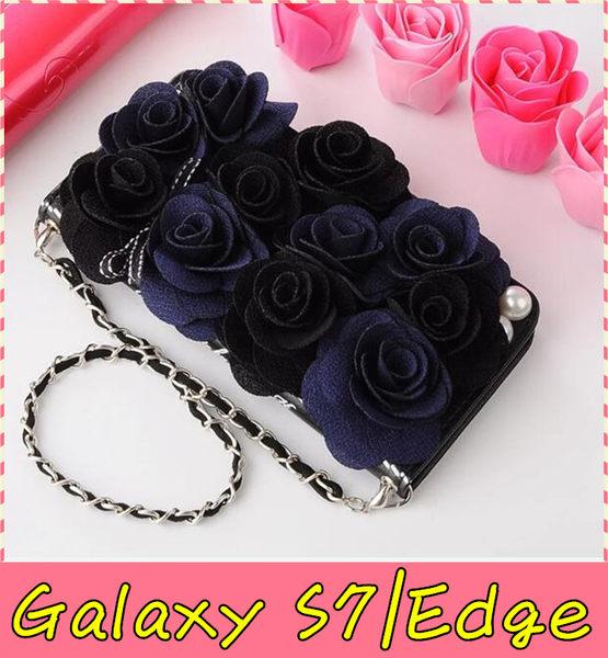 【萌萌噠】三星 Galaxy S7 / S7Edge 韓國立體黑玫瑰保護套 帶掛鍊側翻皮套 支架插卡 手機殼 硬殼